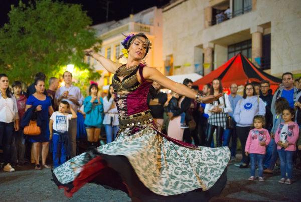 ELVAS PORTUGAL. JUNEL 30 2017: Belly dancer in the medieval festival in Elvas.
